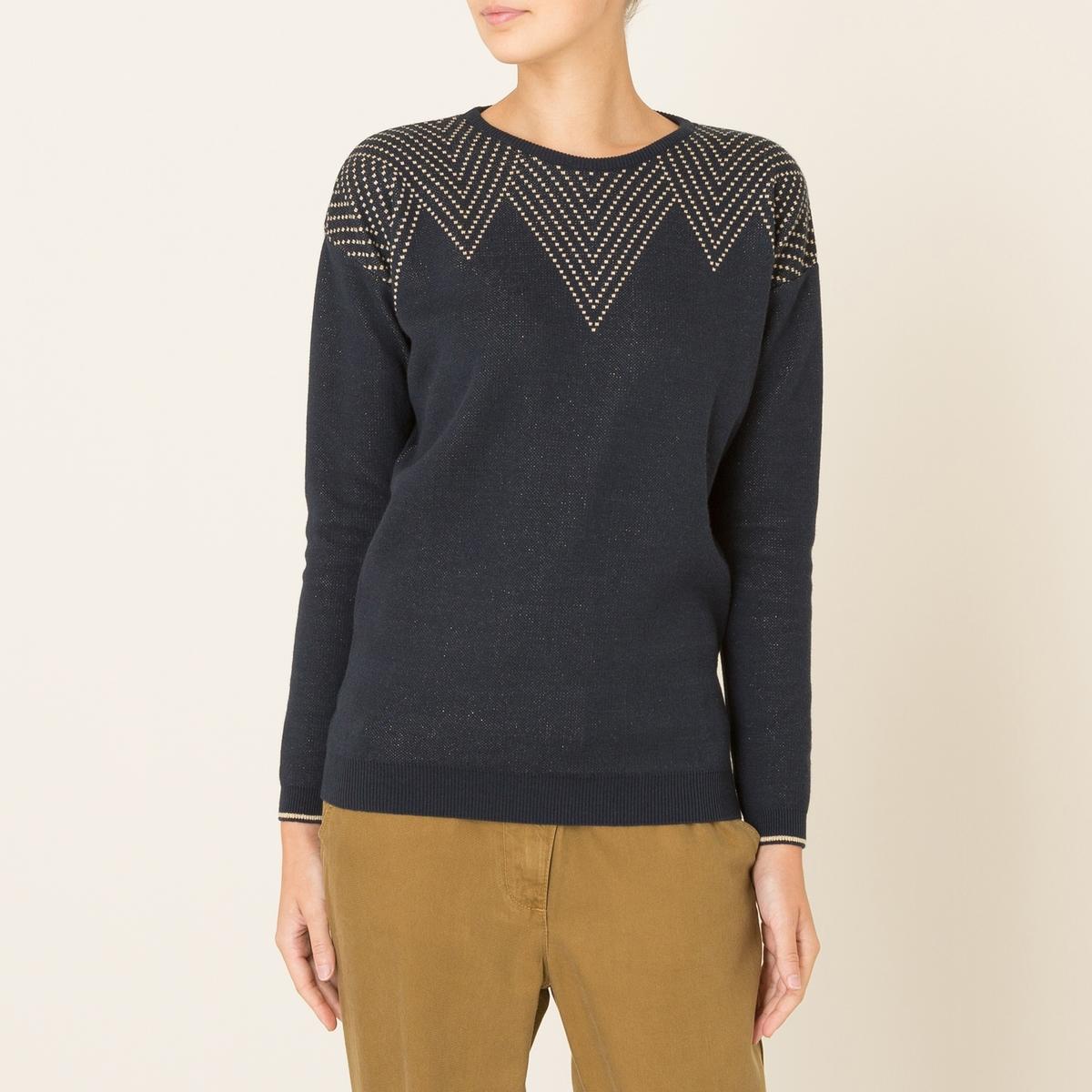 Пуловер DANS LE MILLEСостав и описание    Материал : 98% хлопка, 2% волокон с металлическим блеском   Марка : BLUNE<br><br>Цвет: темно-синий