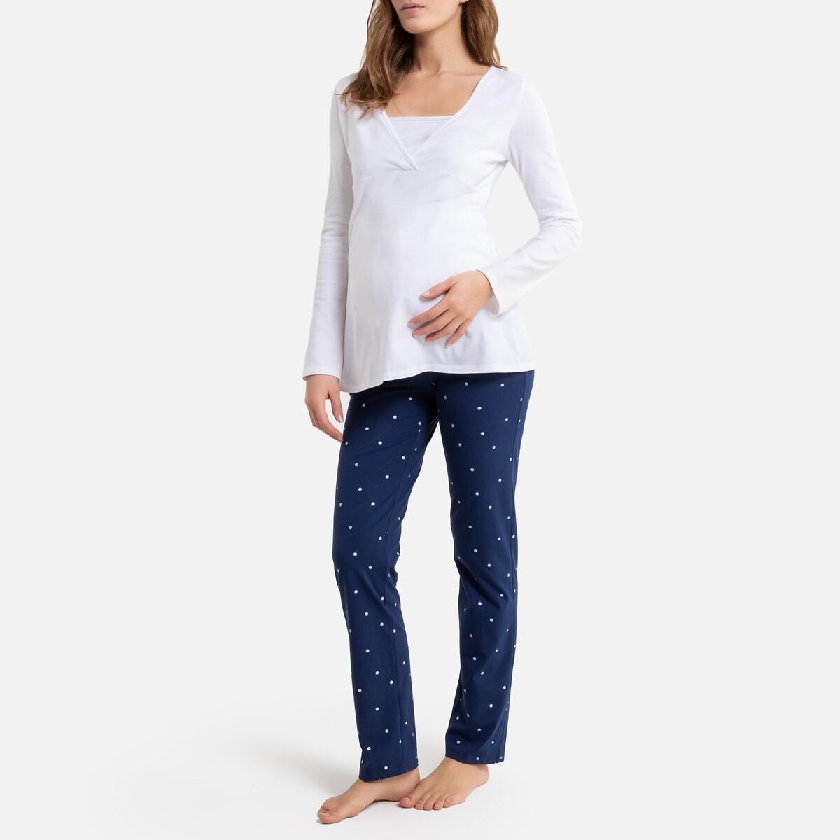 Пижама La Redoute Для беременных и кормящих грудью 50/52 (FR) - 56/58 (RUS) белый купальник la redoute раздельный для периода беременности 46 fr 52 rus синий