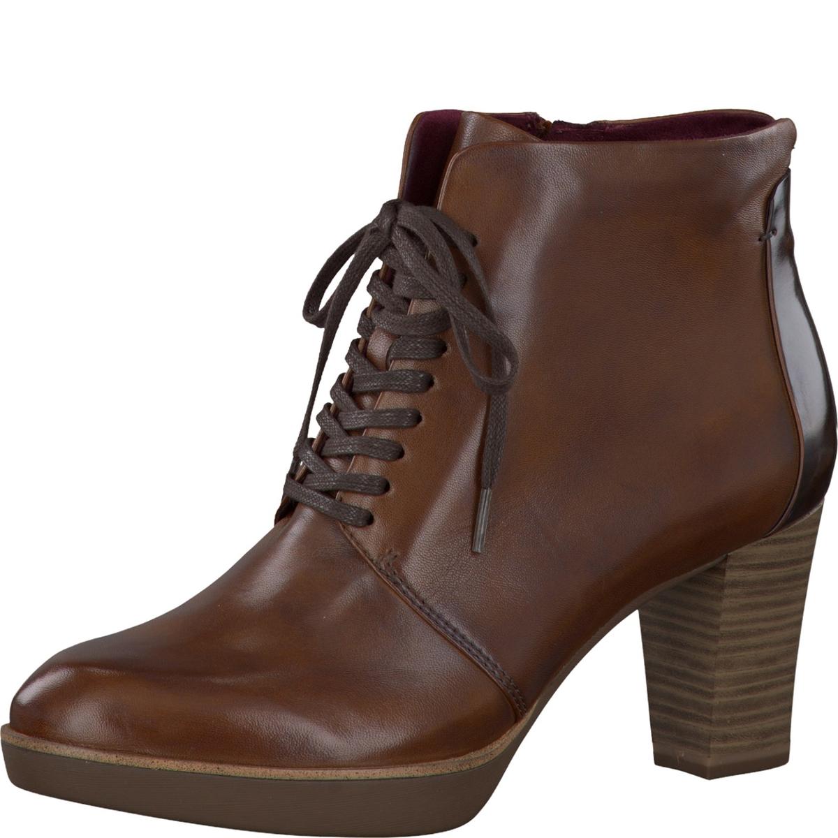 Ботинки кожаныеДетали •  Высота голенища : 10 см, размер 37  •  Высота каблука : 7,5 см •  Застежка : шнуровка •  Круглый мысок •  Гладкая отделкаСостав и уход • Верх/Голенище 50% кожи, 50% синтетики   •  Подкладка 50% кожи, 50% текстиля<br><br>Цвет: каштановый