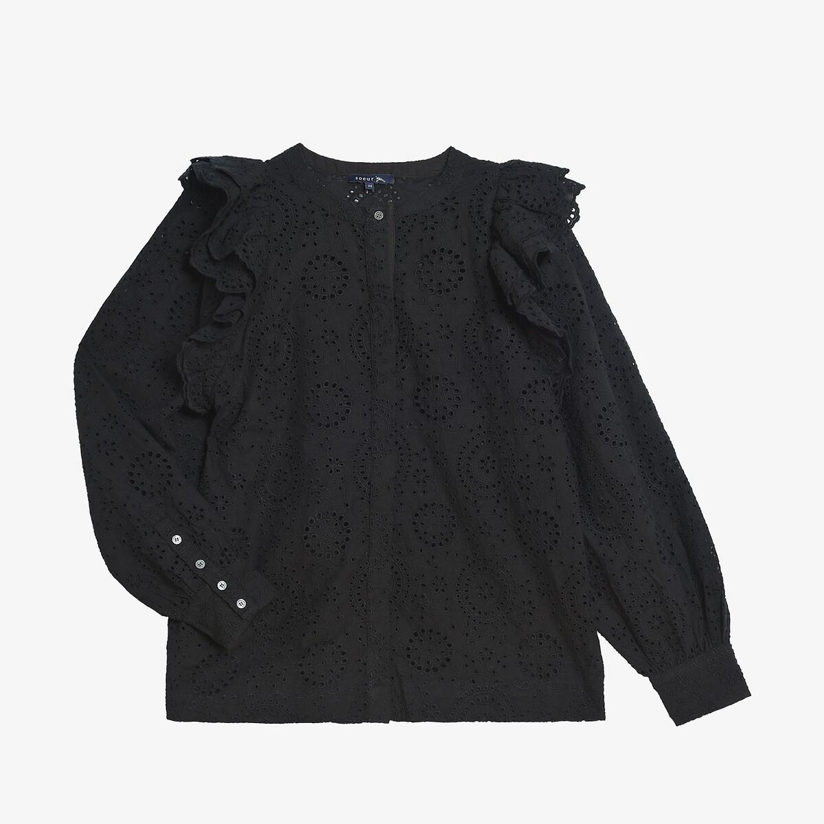 Блузка La Redoute С круглым вырезом длинные рукава INESA 40 (FR) - 46 (RUS) черный свитшот la redoute с круглым вырезом и вышивкой s черный