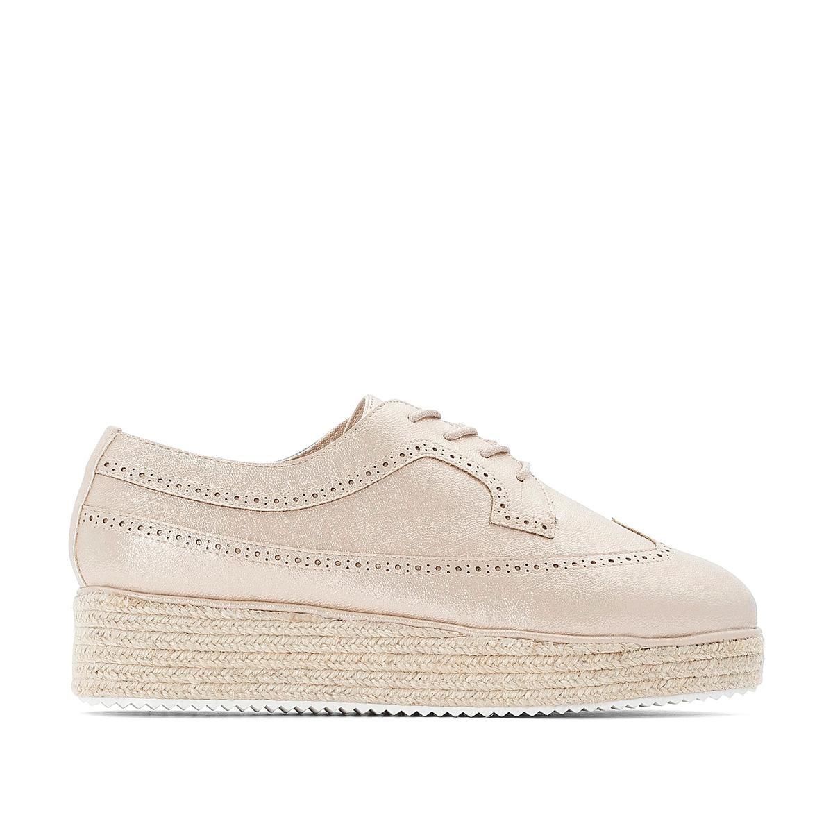 Ботинки-дерби La Redoute На шнуровке в стиле эспадрилий 41 розовый