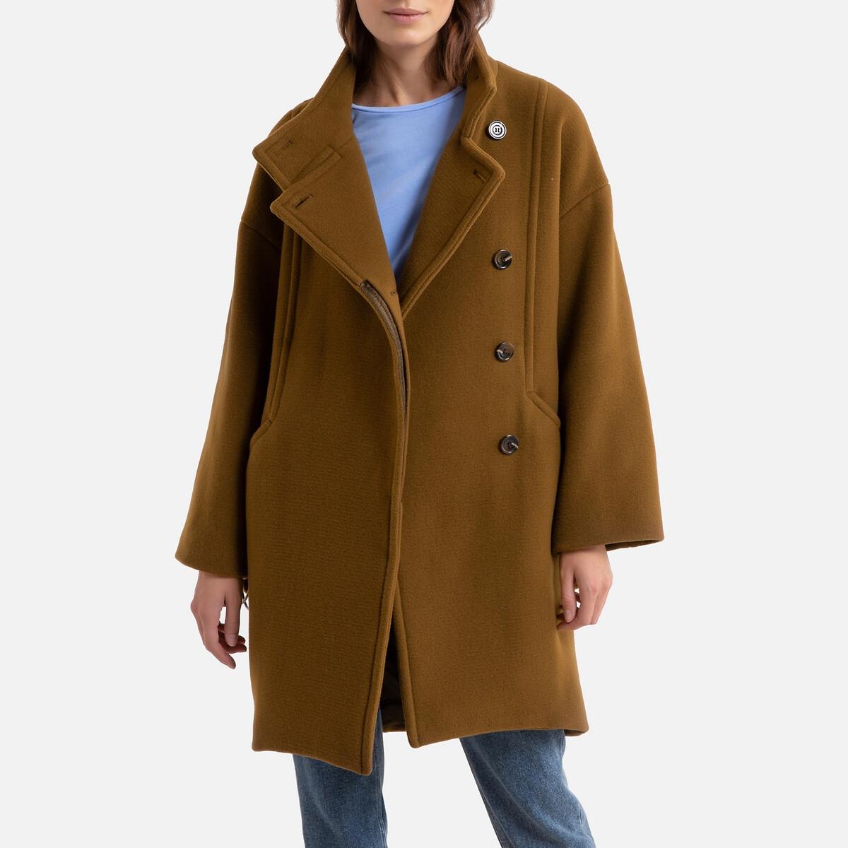 Пальто LaRedoute Средней длины на пуговицах LANCELOT 40 (FR) - 46 (RUS) зеленый