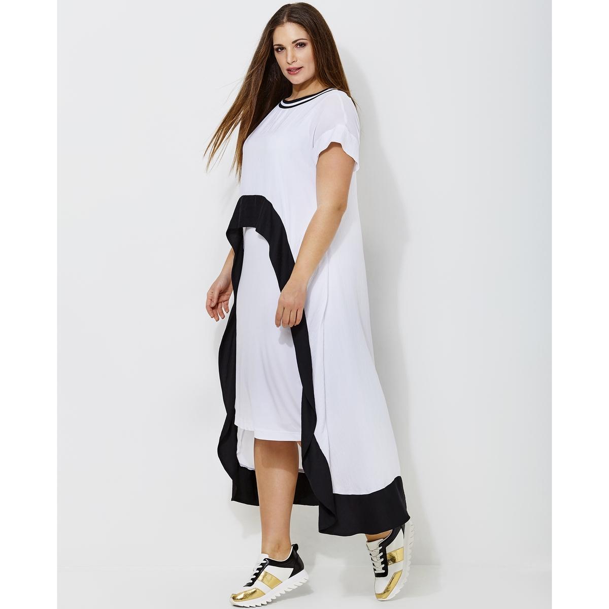 Платье длинное расклешенное двухцветное с короткими рукавами