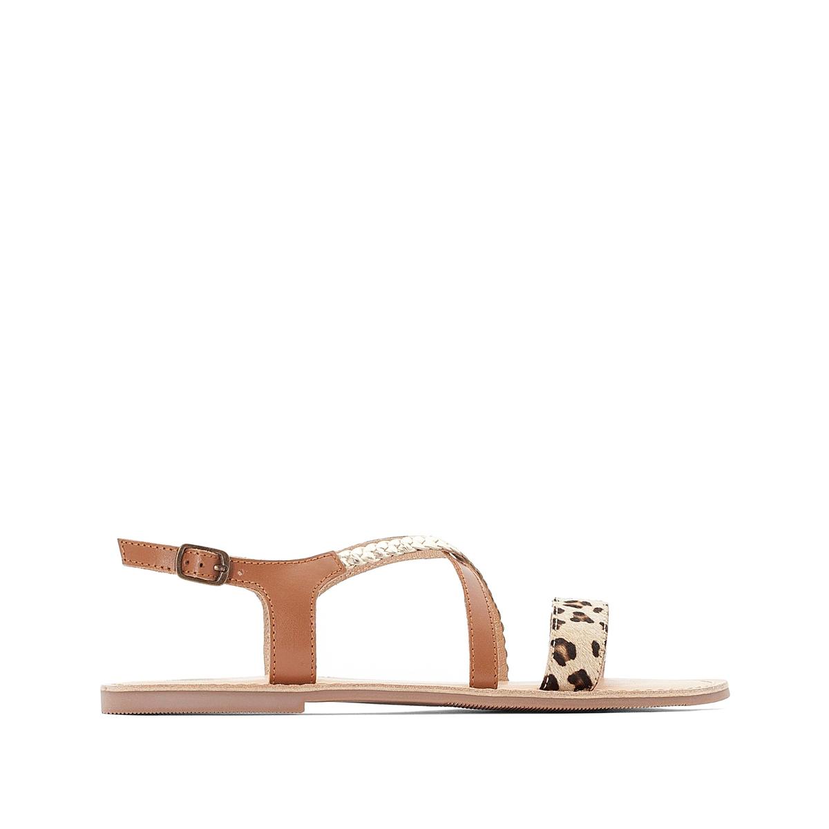 Sandalias de piel con detalle de leopardo