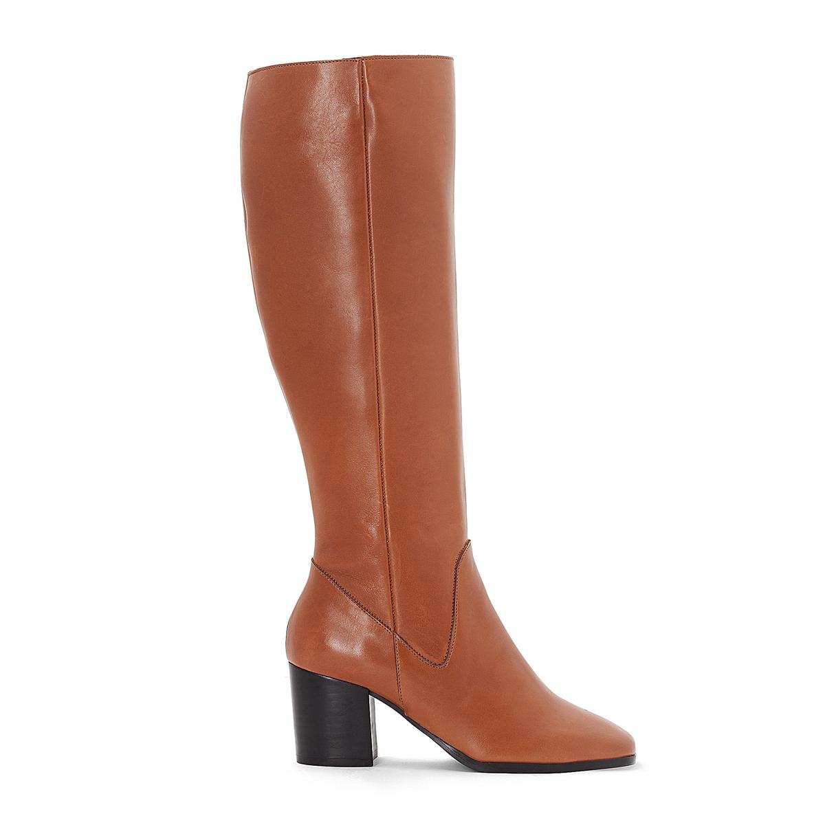 Сапоги кожаные на среднем каблуке сапоги кожаные на плоском каблуке 1137
