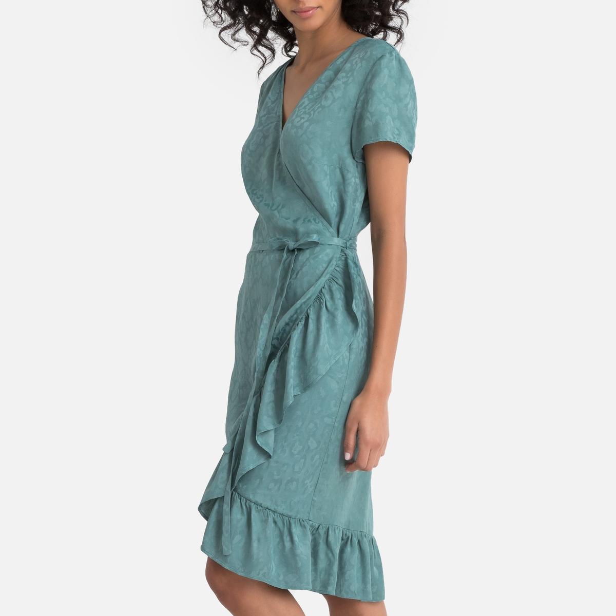 Платье-миди La Redoute С запахом с воланами 36 (FR) - 42 (RUS) зеленый