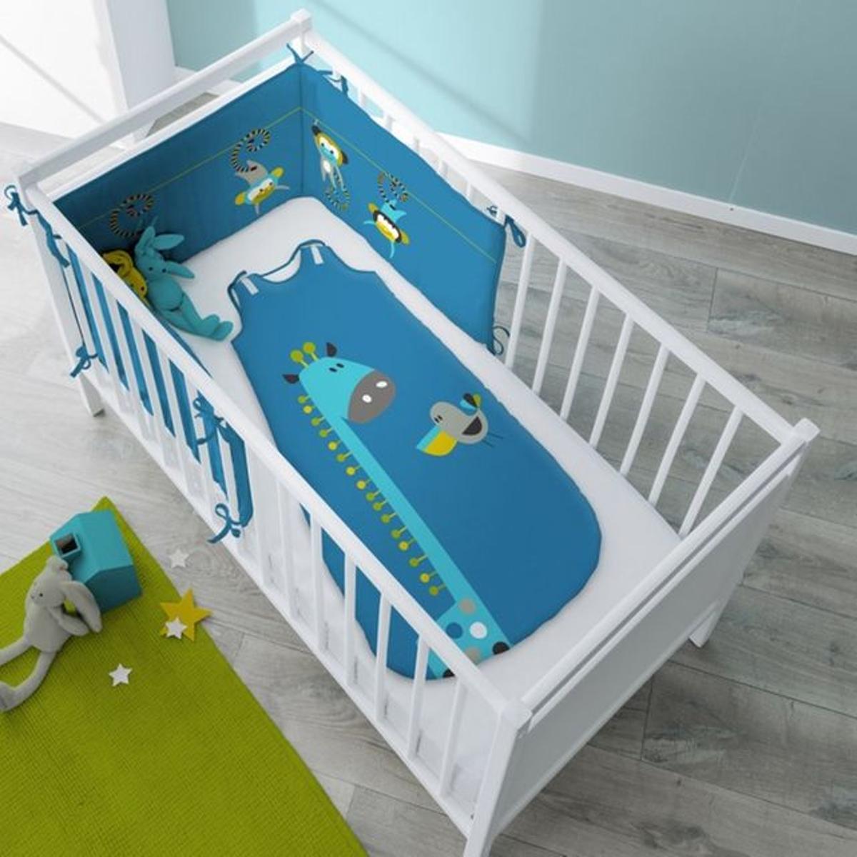 Turbulette girafe bleu pour bébé en coton - Cocoloco