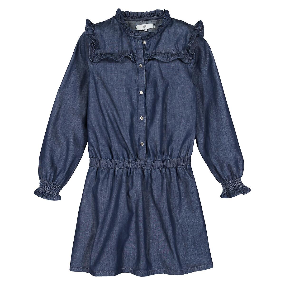 Платье LaRedoute С длинными рукавами с воланами 3-12 лет 9 лет - 132 см синий
