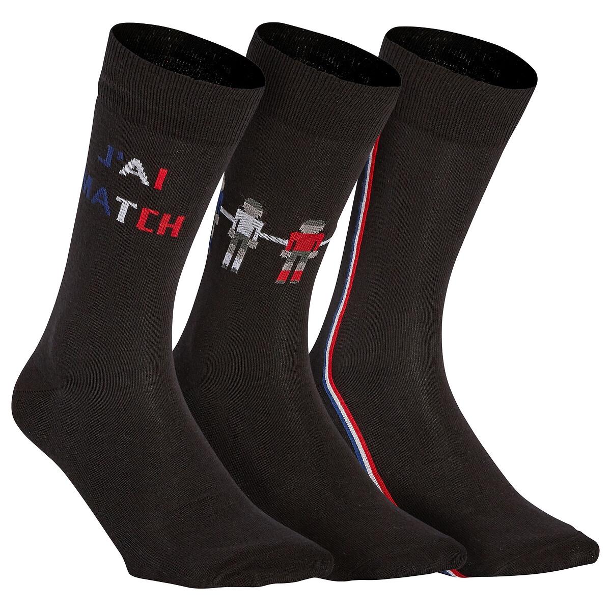 Комплект из пар носков La Redoute С рисунком футбол 35/38 черный комплект из пар носков la redoute размеры 23 26 черный