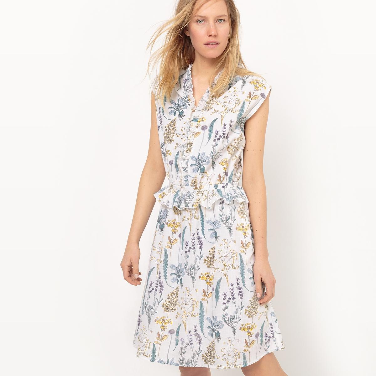 Платье длинное без рукавов, с воланамиМатериал : 100% хлопок       Длина рукава : без рукавов       Форма воротника : V-образный вырез      Покрой платья : расклешенное платье      Рисунок : цветочный       Особенность платья : волан      Длина платья : длинная      Стирка : машинная стирка при 30 °С в деликатном режиме      Уход: : сухая чистка и отбеливание запрещены      Машинная сушка : запрещена      Глажка : при умеренной температуре<br><br>Цвет: цветочный рисунок<br>Размер: 36 (FR) - 42 (RUS).40 (FR) - 46 (RUS).34 (FR) - 40 (RUS).38 (FR) - 44 (RUS).44 (FR) - 50 (RUS).48 (FR) - 54 (RUS).46 (FR) - 52 (RUS).42 (FR) - 48 (RUS)