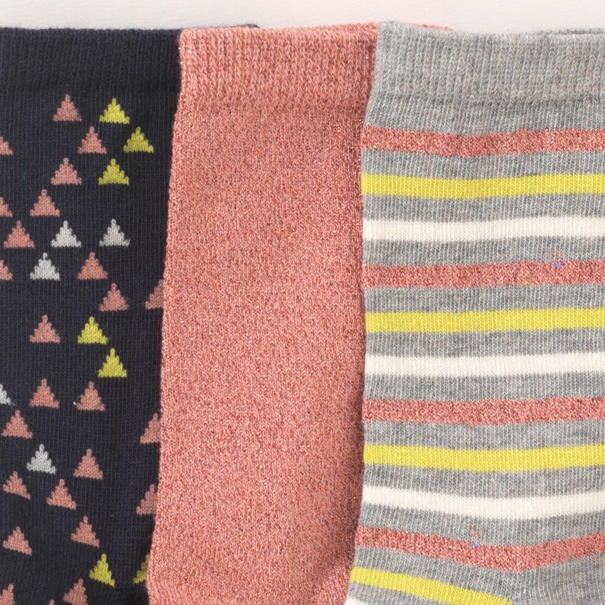 Носки оригинальные (комплект из 3 пар)Носки с геометрическими мотивами  . В комплекте 3 пары носков.Состав и описание : Материал      74% хлопка (и металлизированные волокна), 25% полиамида, 1% эластана Марка      abcdRУход :Ручная стирка.Машинная сушка запрещена.Не гладить.<br><br>Цвет: набивной рисунок