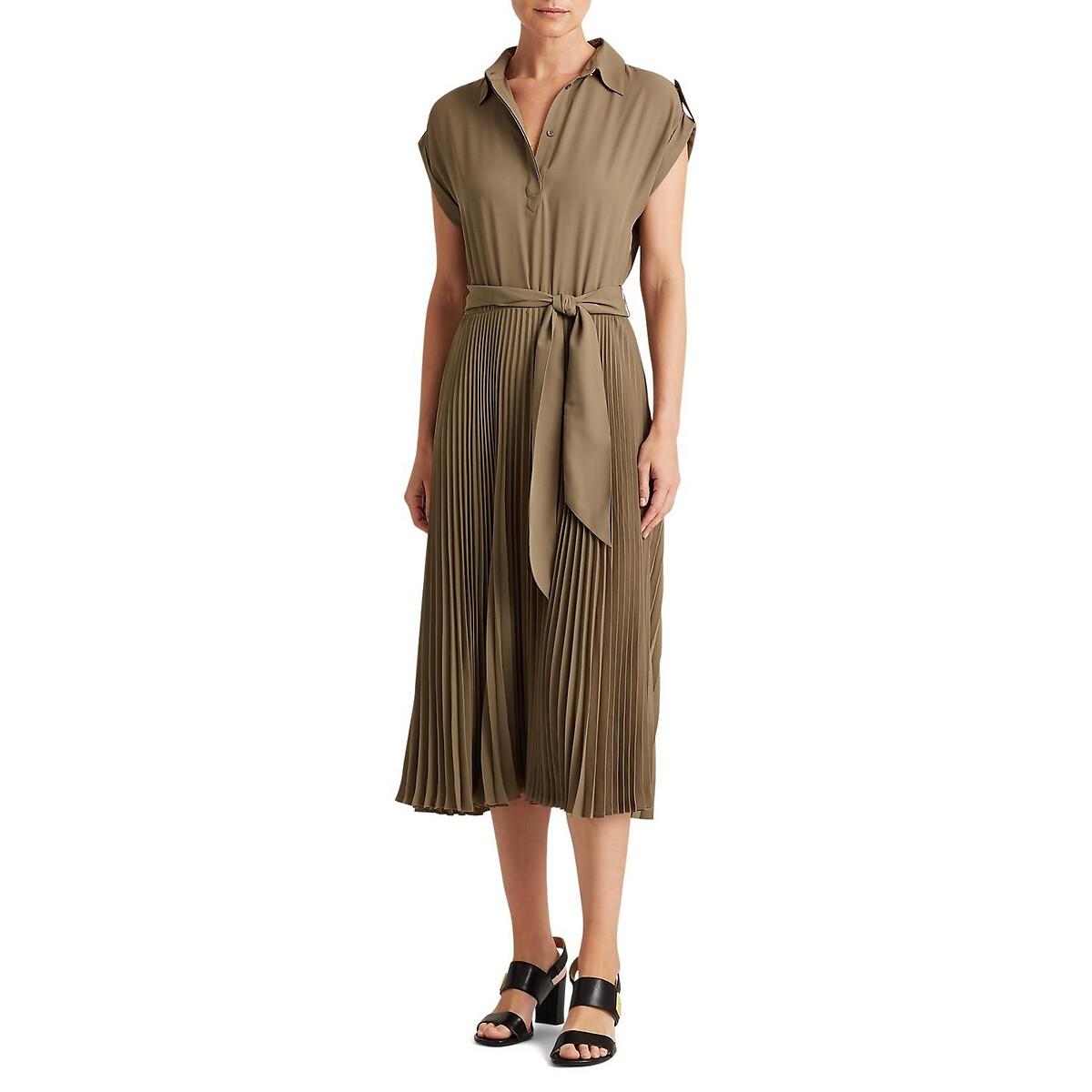 Платье-сорочка La Redoute С маленькими рукавами L зеленый платье с рукавами в 3 4 gloss