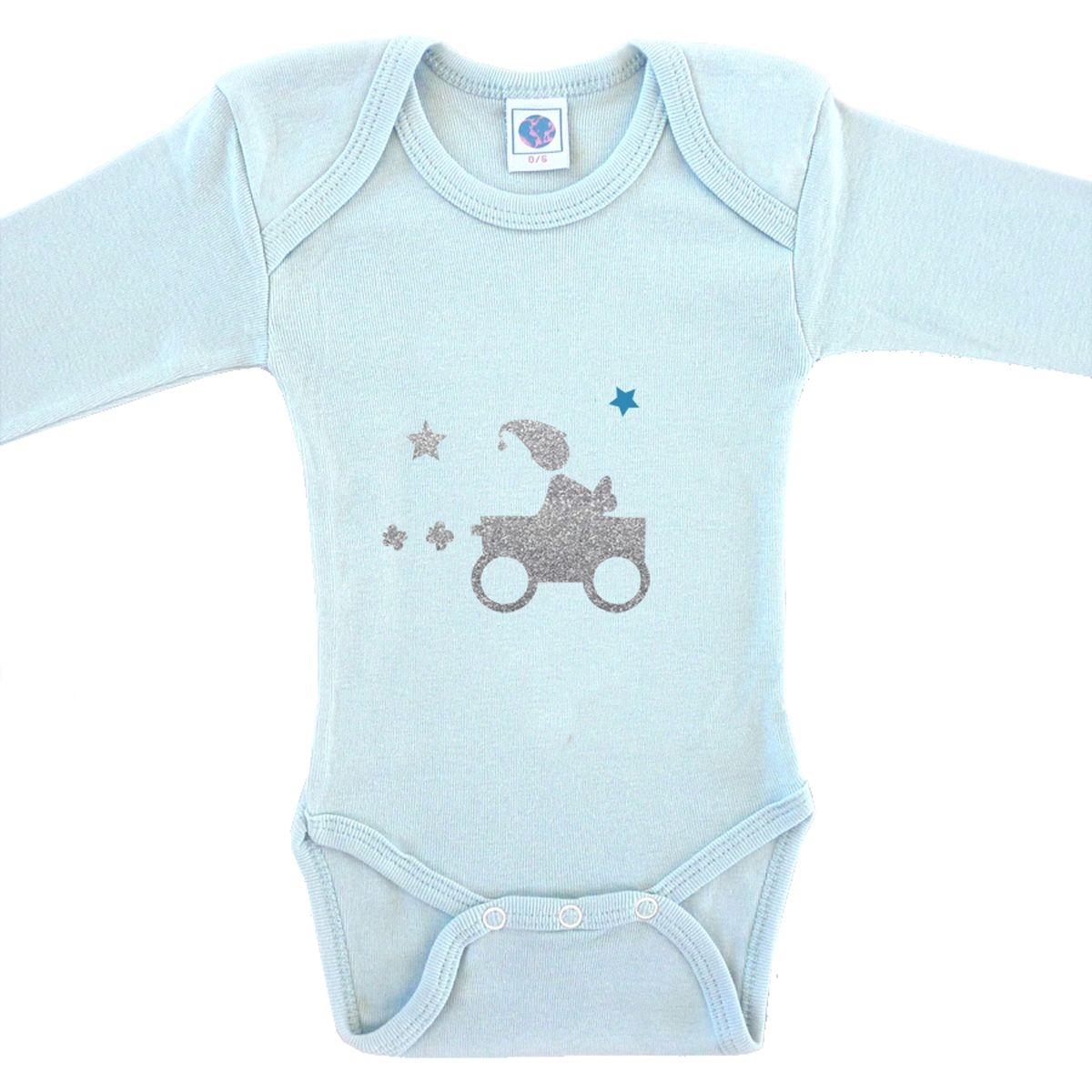Body bébé en coton manches longues bleu