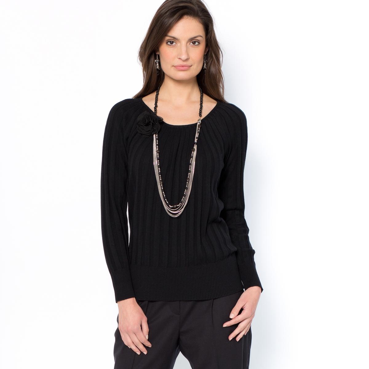 Пуловер в гламурном стиле с плиссировкой в виде солнца, 10% шерсти