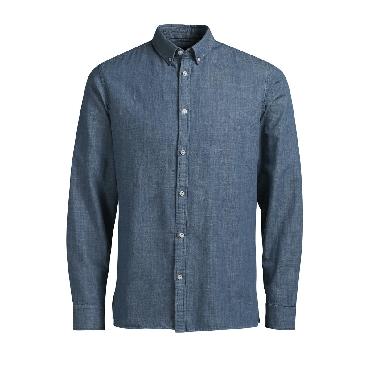 Рубашка JORSPOT узкого покрояРубашка модель JORSPOT от марки Jack &amp; Jones®  из хлопка под очень мягкий и эластичный деним с контрастными пуговицами .             Длинные рукава, манжеты с застежкой на 2 пуговицы, пуговица на предплечье           Облегающий покрой           Классический воротник со свободными уголками           Закругленный низ, разрезы по бокам           Логотип с внутренней стороны застежки на пуговицыСостав и описание :Основной материал : 100% хлопок            Марка :  JACK &amp; JONES®Уход  : Следуйте рекомендациям, указанным на этикетке изделия.<br><br>Цвет: голубой<br>Размер: L