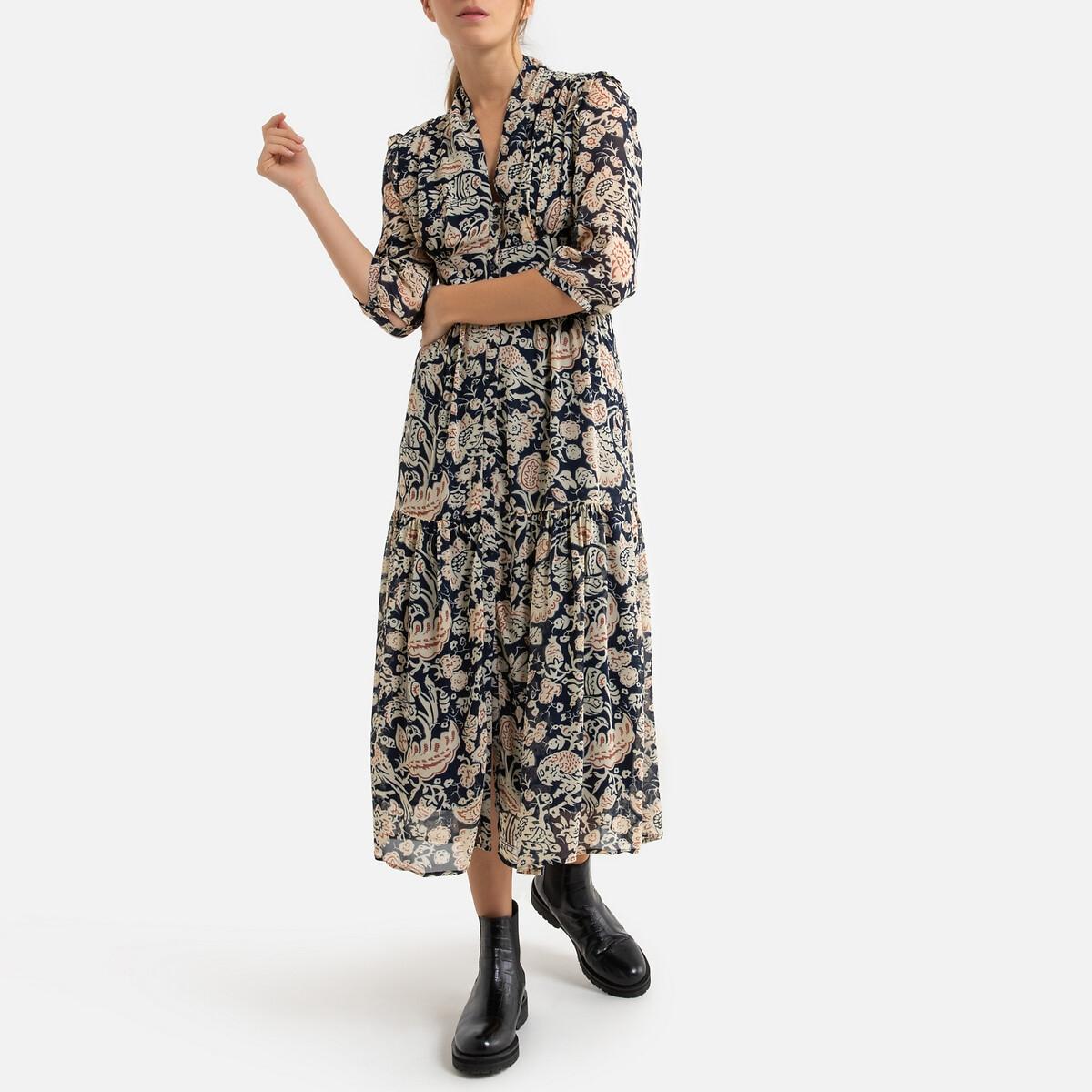 Платье LaRedoute Длинное с принтом ALIN 0(XS) разноцветный