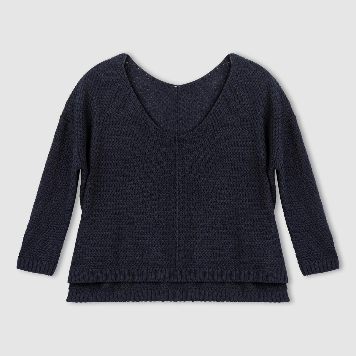 Пуловер широкого покрояПуловер широкого покроя, 50% хлопка, 50% акрила. Пуловер сV-образным вырезом.Длинные рукава.Шов посередине спереди.Разрезы по бокам.Немного длиннее сзади.Низ украшен крупными бороздами, декоративная стежка.Края связаны в рубчик.Длина 60 см.<br><br>Цвет: синий морской<br>Размер: 34/36 (FR) - 40/42 (RUS)