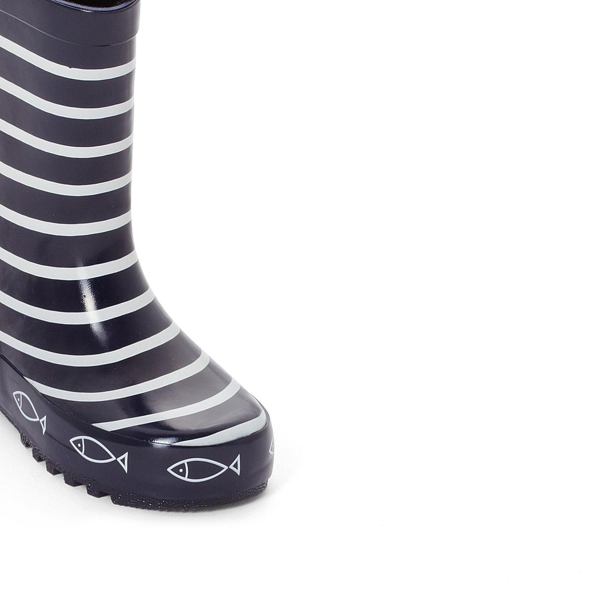 СапогиДетали  •  Резиновые сапоги •  Плоский каблук •  Круглый мысок •  Застежка : без застежки •  Высота каблука : 1 см.Состав и уход  •  Верх 100% каучук •  Подкладка 100% хлопок •  Стелька 100% текстиль •  Подошва 100% каучук<br><br>Цвет: темно-синий в полоску<br>Размер: 24.28.29.30.31