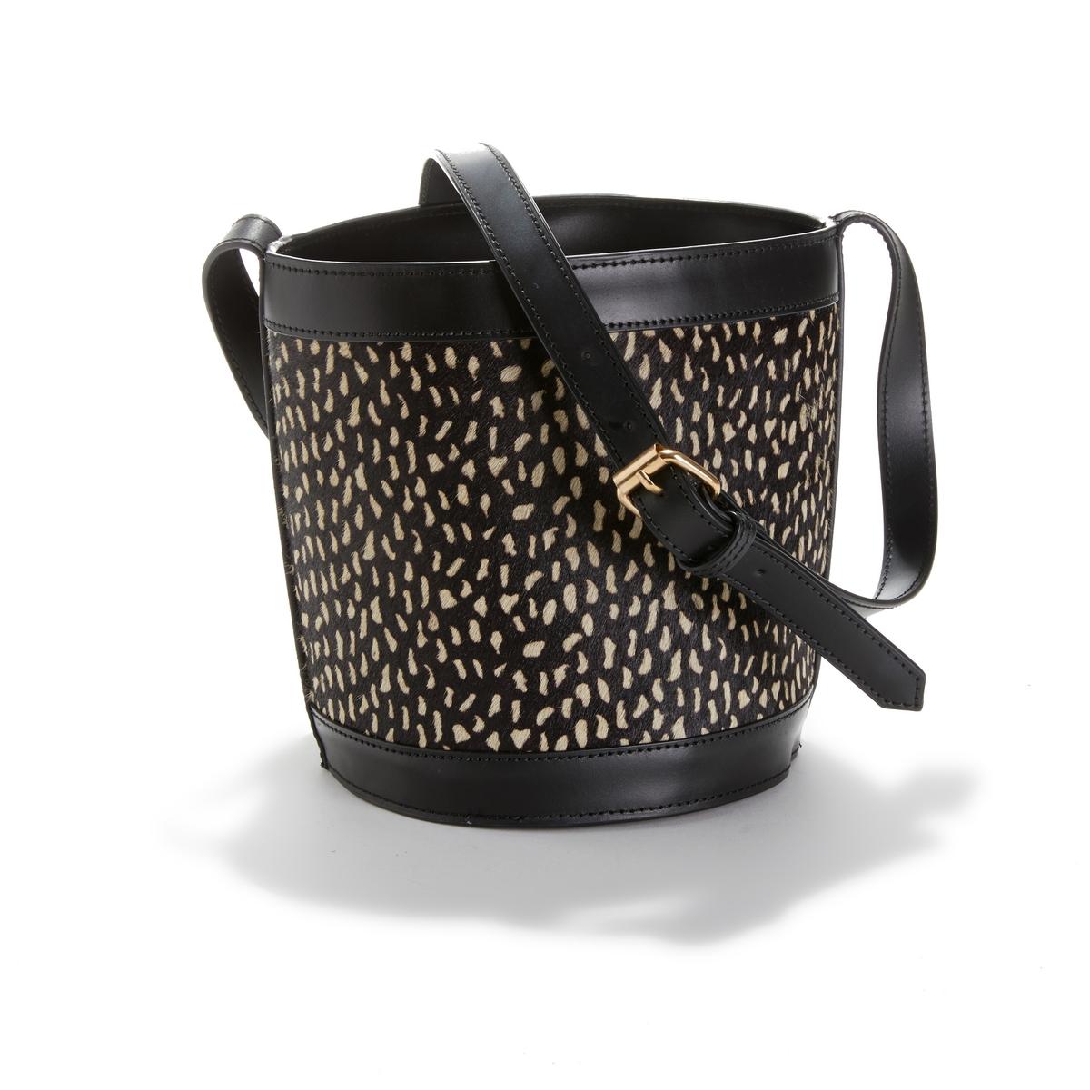 Кожаная La Redoute Сумка с леопардовым принтом UNI черный сумка клатч la redoute с помпонами uni черный