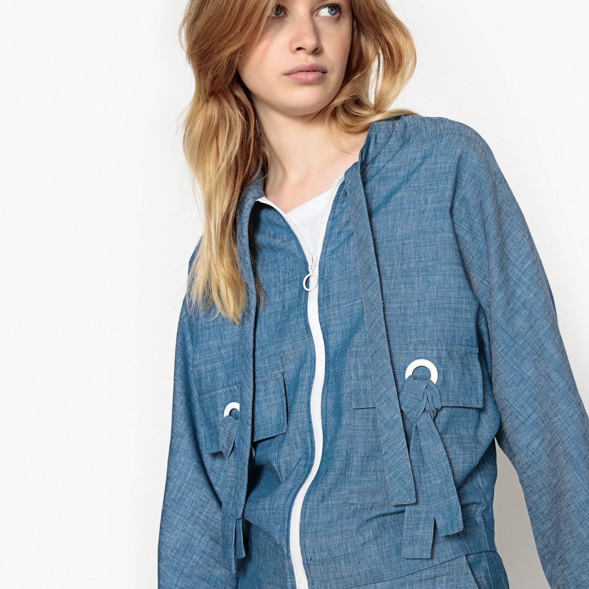 Куртка La Redoute На молнии из хлопкальна 44 (FR) - 50 (RUS) синий шорты la redoute плавательные с принтом джунгли мес года 18 мес 81 см синий