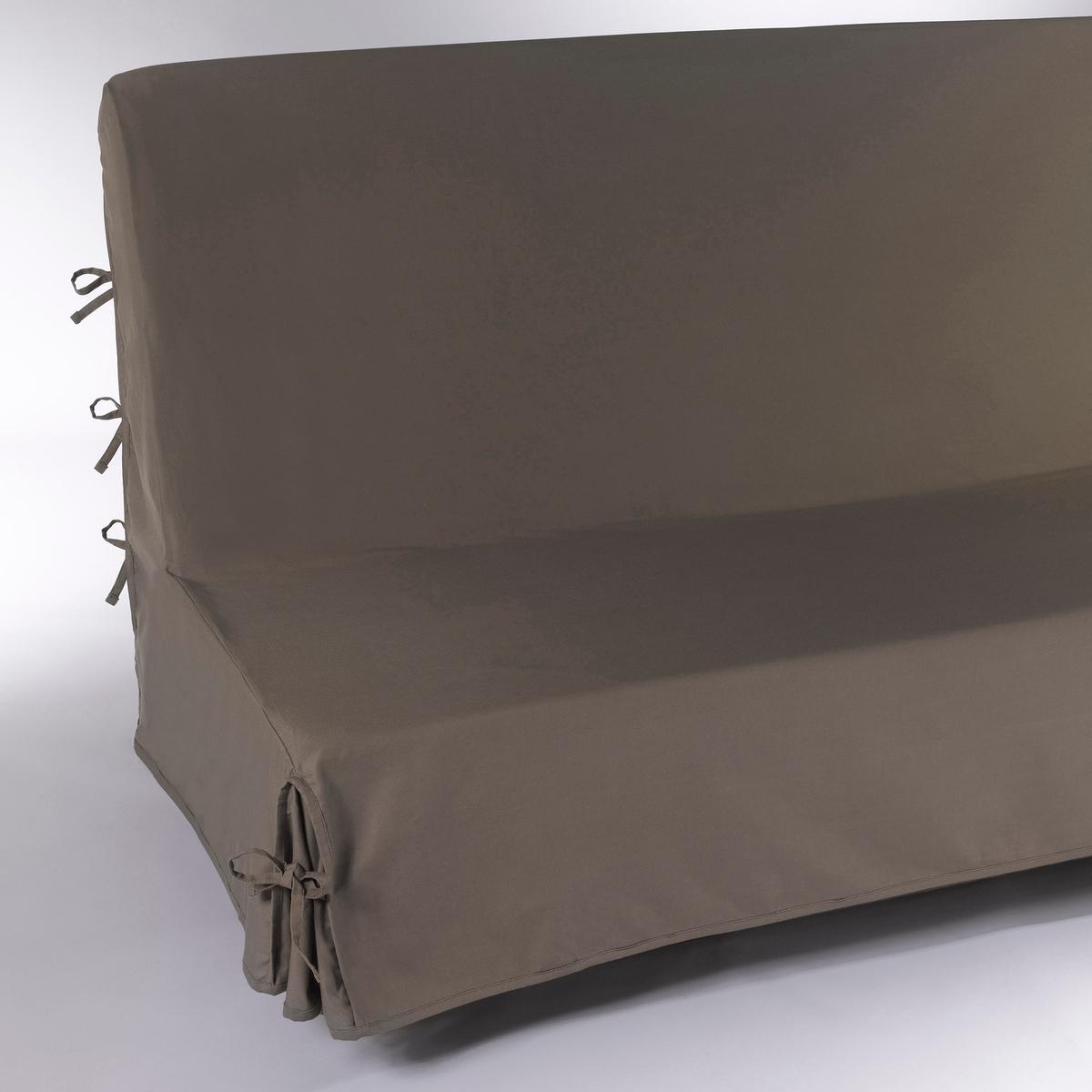 Чехол для дивана-книжкиХарактеристики чехла для дивана-книжки:Чехол для дивана-книжки из красивого плотного материала, 100% хлопок (220 г/м?), есть 13 цветов.Полностью закрывает диван включая спинку:: удобные клапаны фиксируются завязками.Простой уход : стирка при 40°, превосходная стойкость цвета.Обработка против пятен.       Размеры чехла для дивана-книжки : Ширина : 190 см, Глубина: 65 см. Для спального места от 120 до 136 см в разложенном состоянии.Качество Valeur S?re.              Сертфикат Oeko-Tex® дает гарантию того, что товары изготовлены без применения химических средств и не представляют опасности для здоровья человека.<br><br>Цвет: рубиново-красный,серо-коричневый каштан