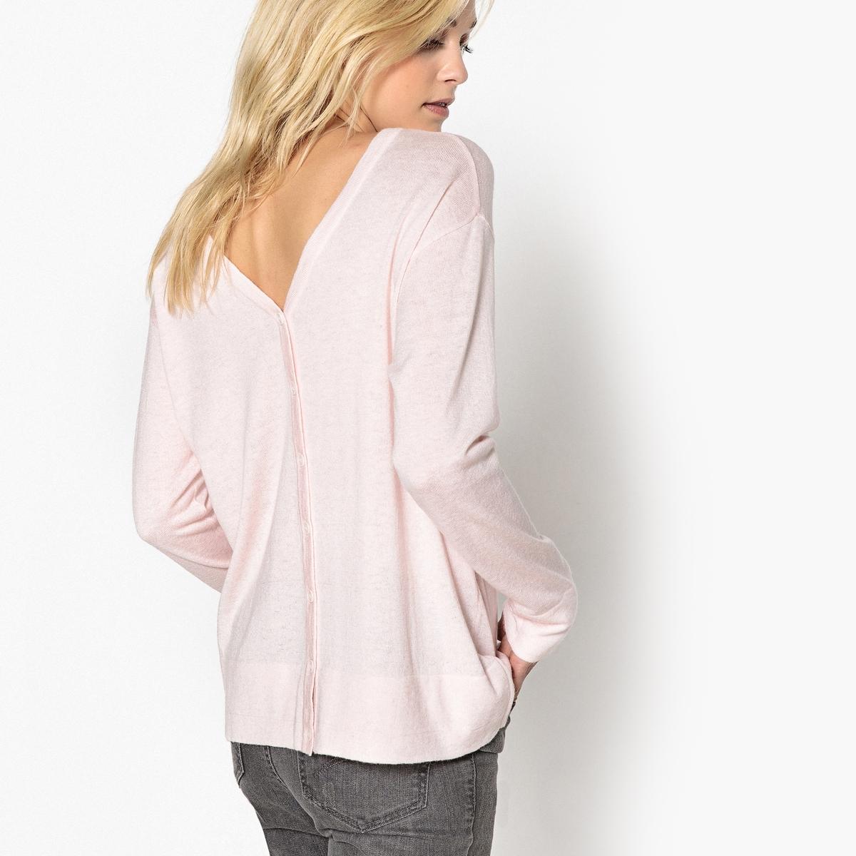 Пуловер шерстяной с застежкой на пуговицы сзади