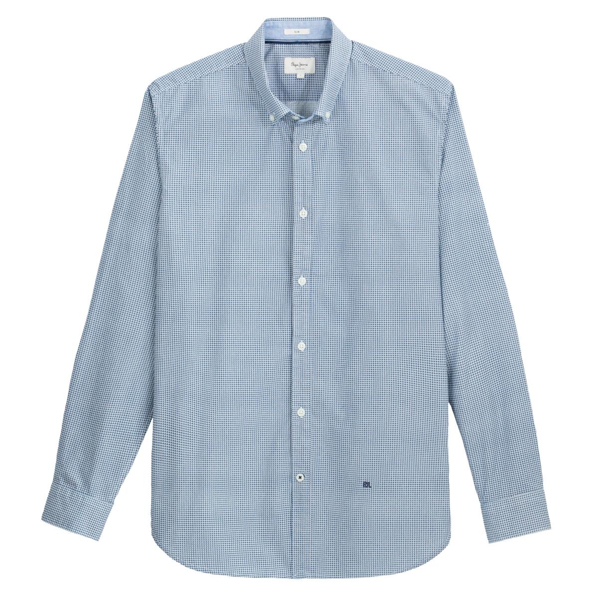 Рубашка La Redoute Зауженная с мелким принтом David S синий рубашка la redoute джинсовая узкая jjesheridan s синий