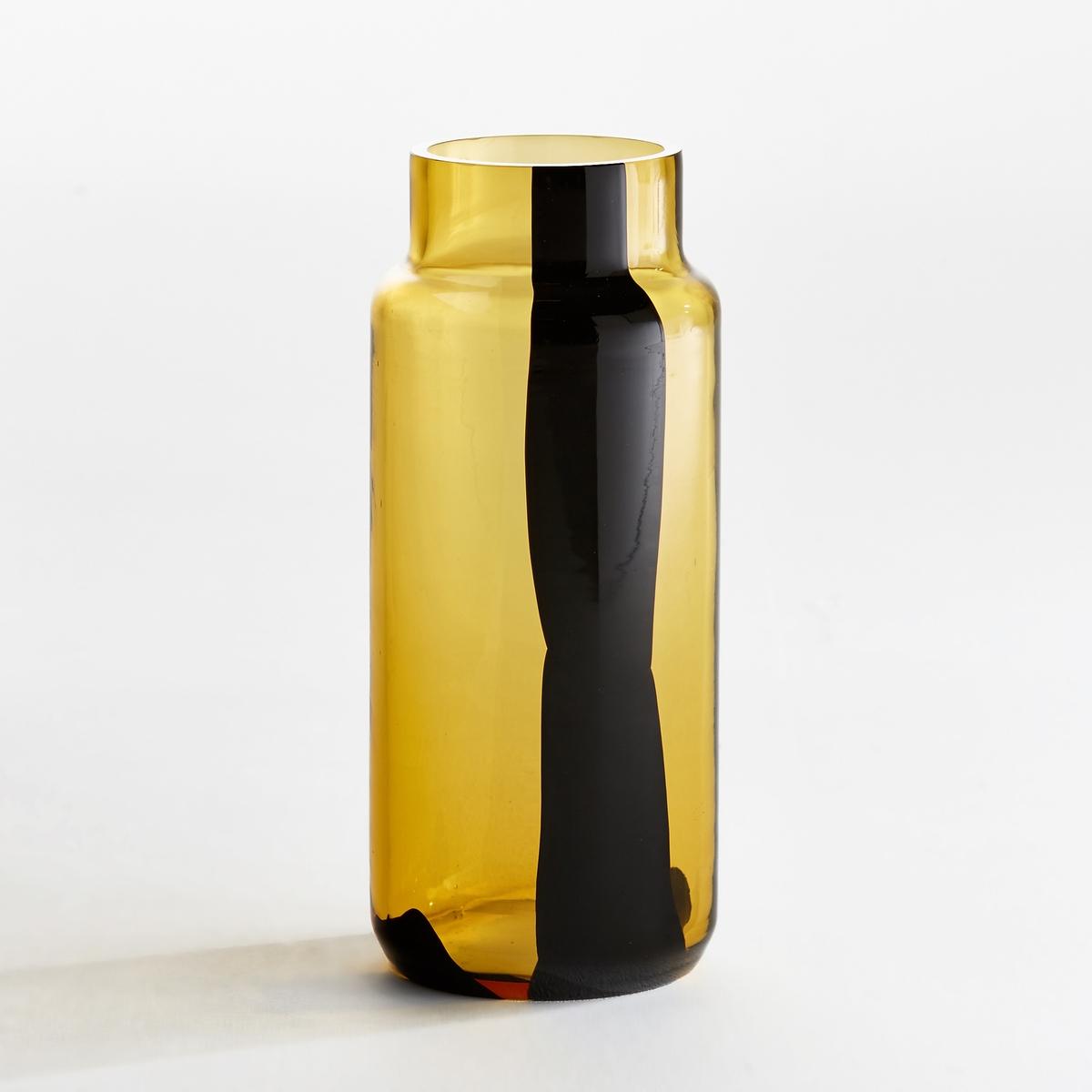Ваза в форме бутыли, OdomarВаза Odomar. Очень красивый эффект капель краски, растворяющихся в бирюзовой воде... Из стекла. Размеры. : Диаметр 13,5 x высота 34,5 см.<br><br>Цвет: янтарь