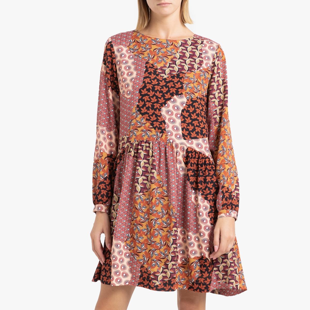 цена Платье La Redoute С принтом расклешенное с длинными рукавами ELEONORE 36 (FR) - 42 (RUS) каштановый онлайн в 2017 году