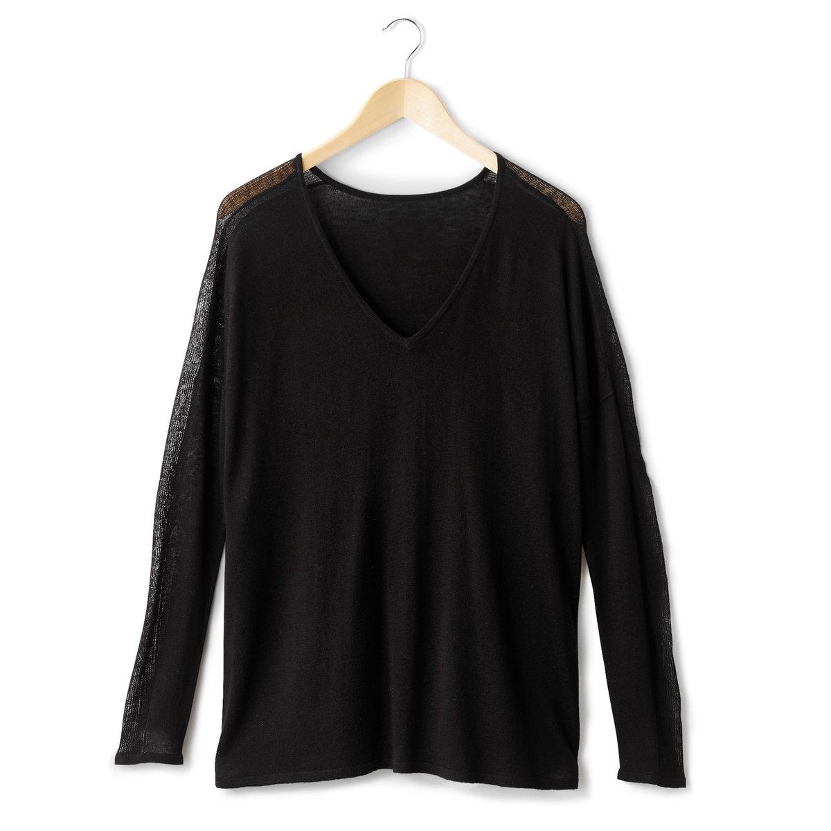 Пуловер с V-образным вырезомПуловер с V-образным вырезом. Длинные прозрачные рукава. Трикотаж, 50 % вискозы, 40% акрила, 10 % шерсти мериноса. Длина 70 см.<br><br>Цвет: черный<br>Размер: 38/40 (FR) - 44/46 (RUS)
