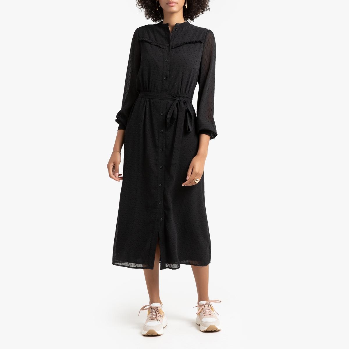 Платье-рубашка La Redoute С длинными рукавами 42 (FR) - 48 (RUS) черный