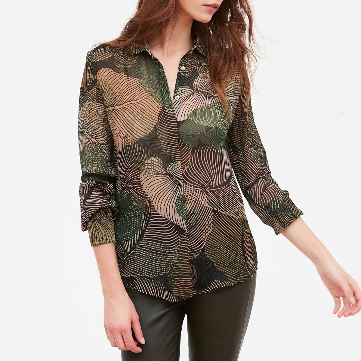 Рубашка с длинными рукавами, принтом листьяCLYDE hartford поло