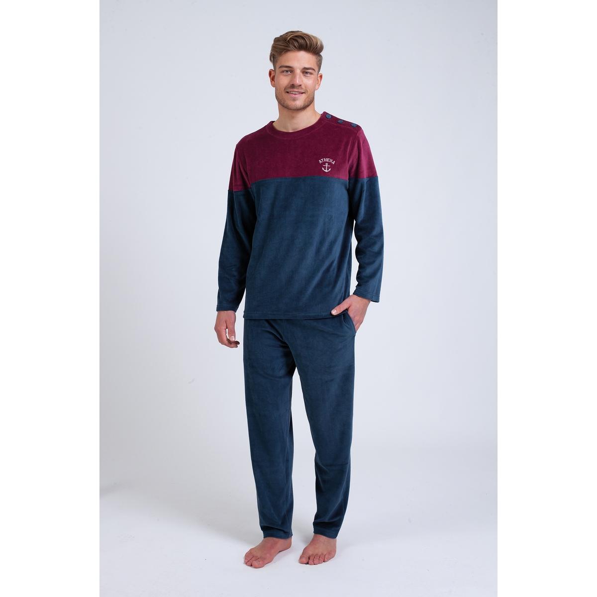 Пижама La Redoute Длинная из велюра L синий цена 2017