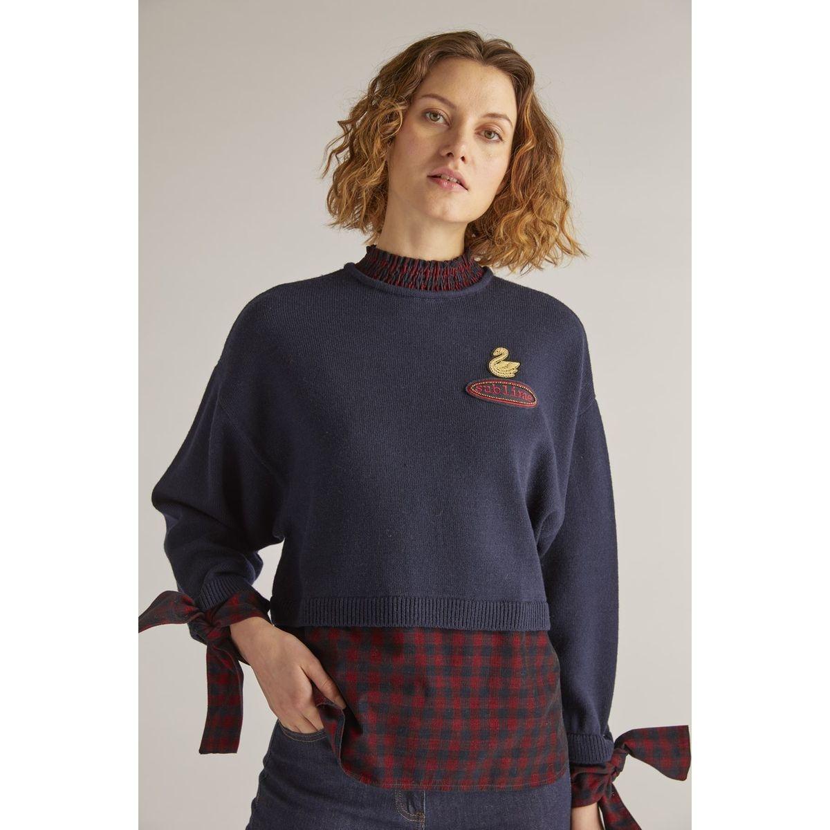 Pull manches longues bi matière chemise - Marmelade