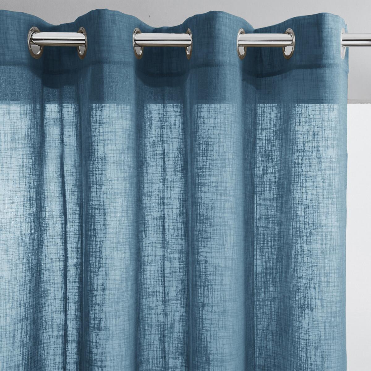 Занавеска LaRedoute С эффектом льна с отверстиями Nyong 350 x 140 см синий