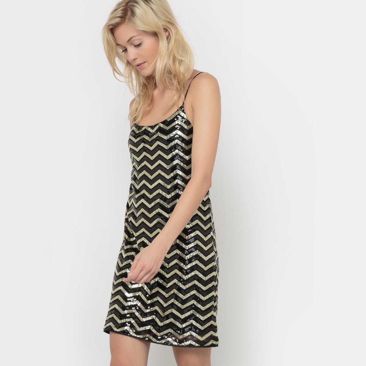 Платье с тонкими бретелямиСостав &amp; ДеталиМатериал        100% полиэстер     Марка        VERO MODA               Уход     Следуйте рекомендациям по уходу, указанным на этикетке изделия.<br><br>Цвет: черный/золотистый<br>Размер: S