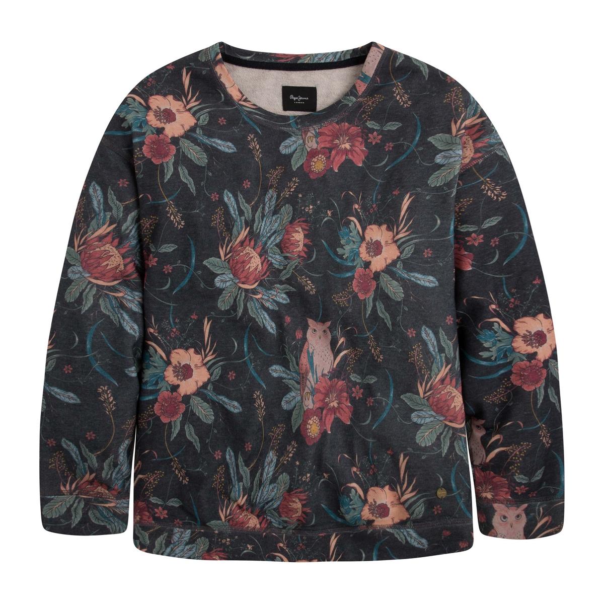 Sudadera con cuello redondo y estampado de flores