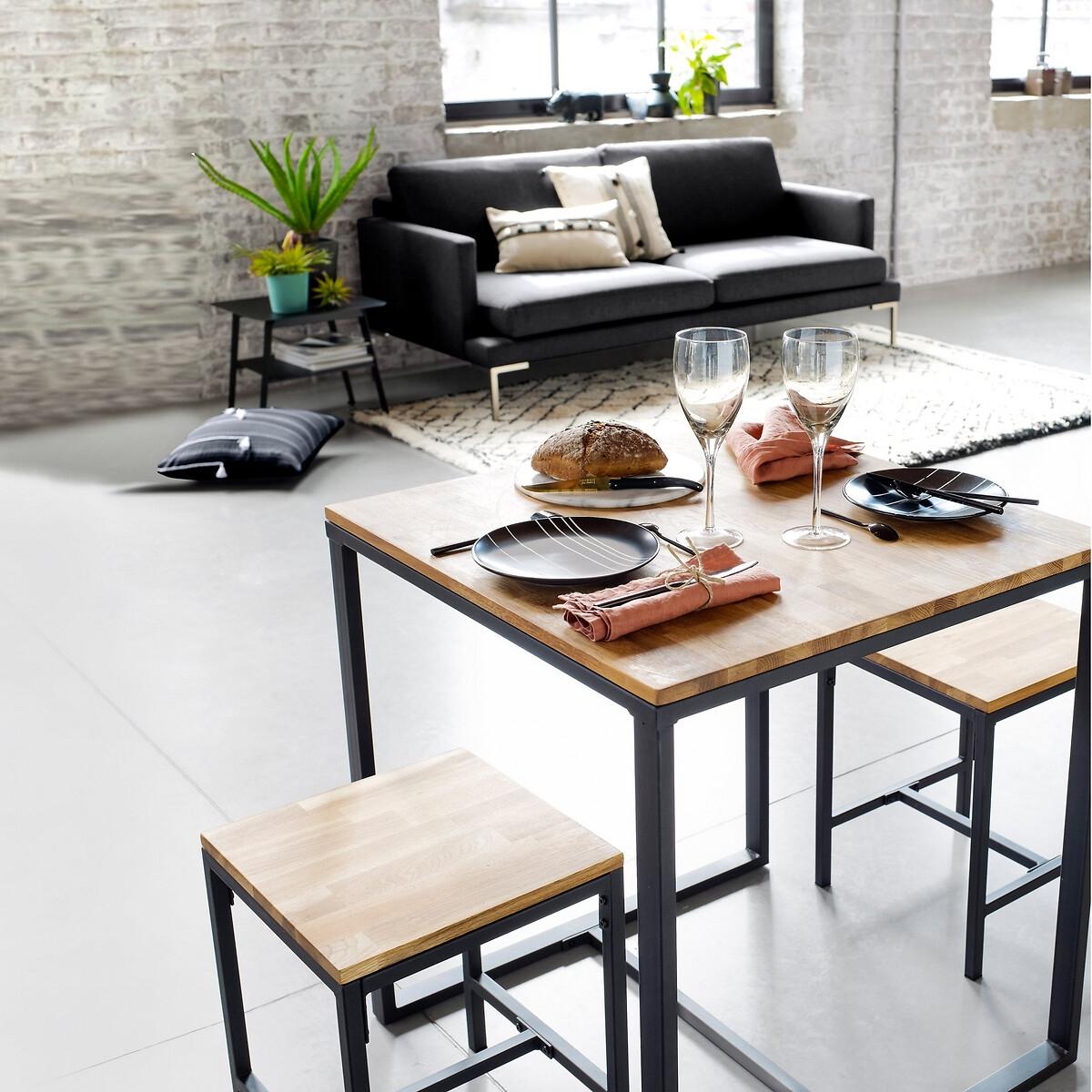 Table bistrot 2 couverts chêne et acier, Hiba
