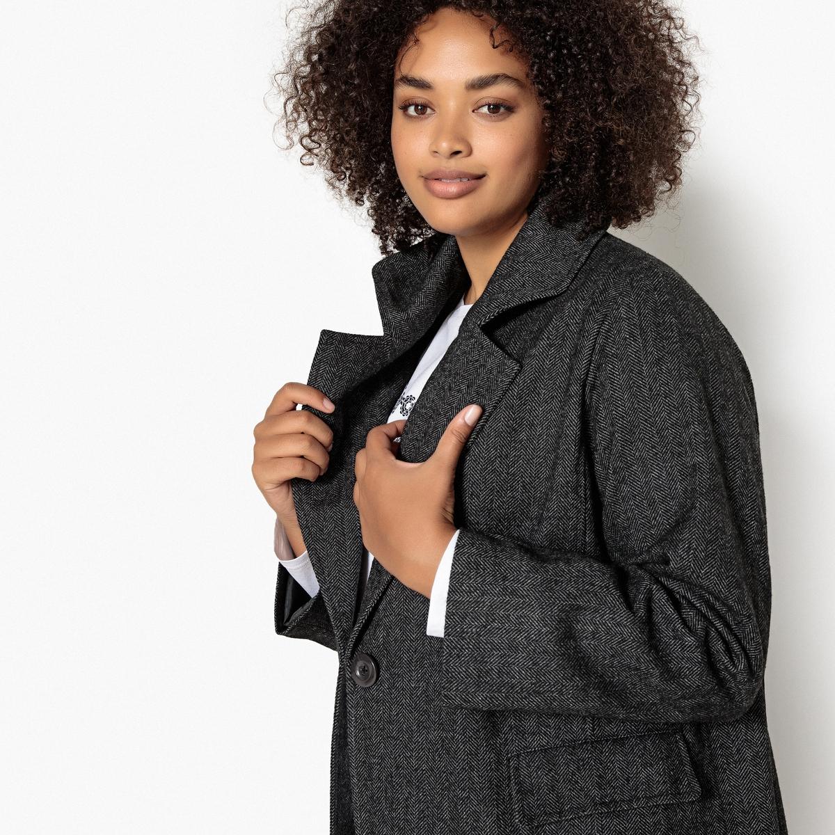 Пальто La Redoute Средней длины из твида 44 (FR) - 50 (RUS) черный цена