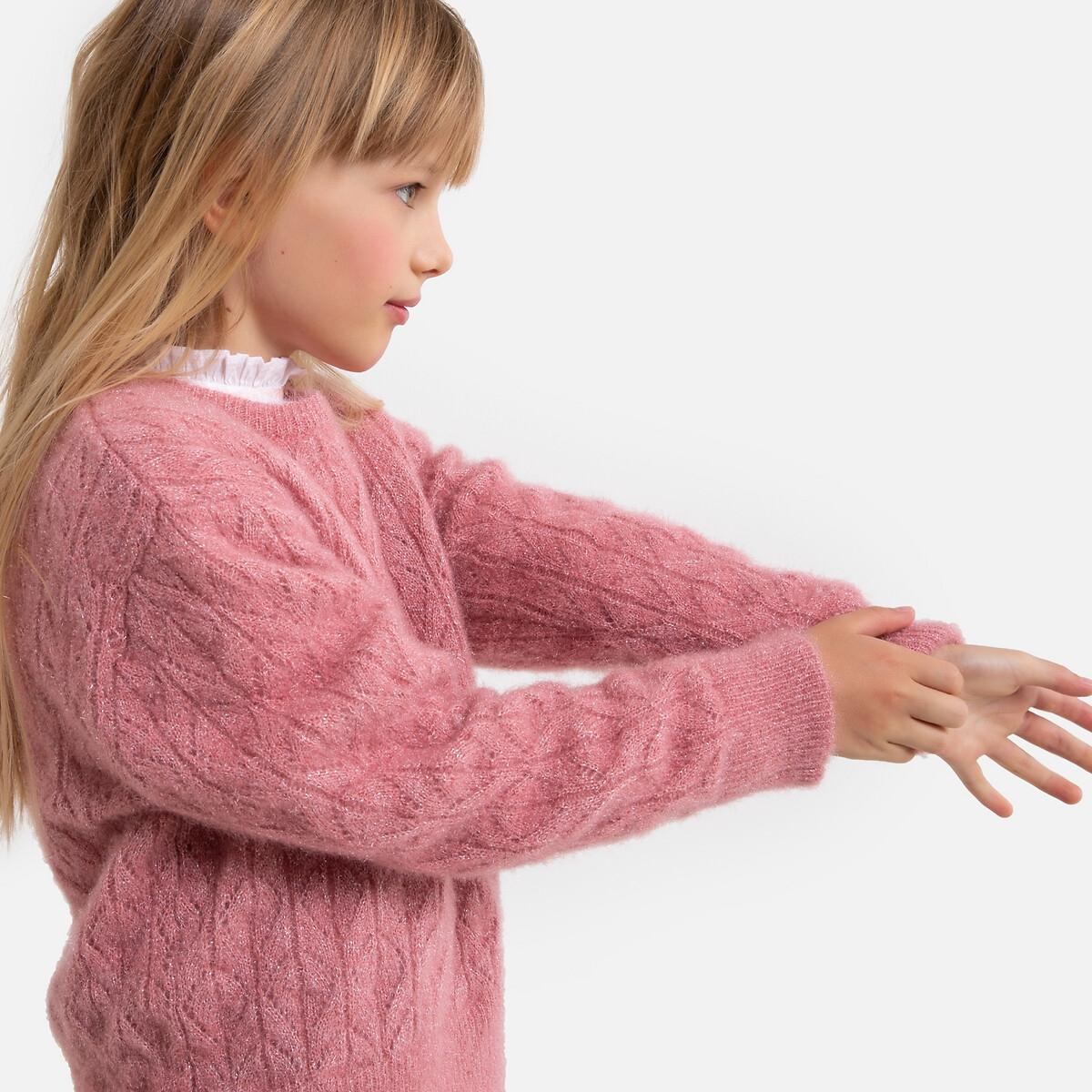 Пуловер LaRedoute С круглым вырезом из трикотажа крупной вязки 3-12 лет 6 - 114 см розовый