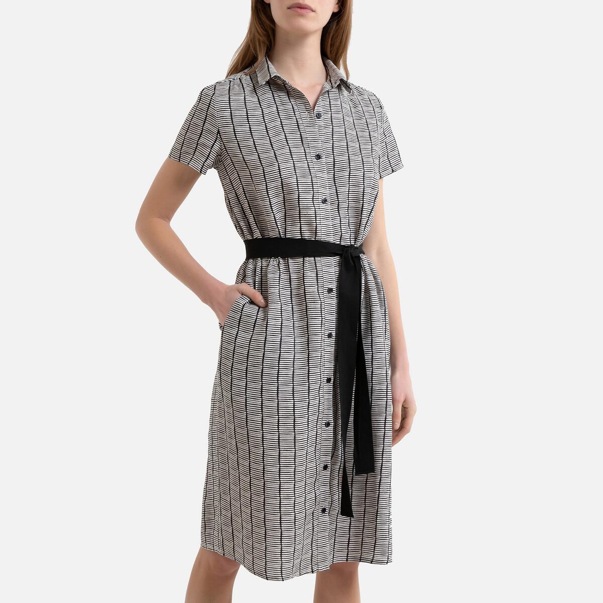 Платье La Redoute На пуговицах из льна с короткими рукавами DICKA 40 (FR) - 46 (RUS) каштановый