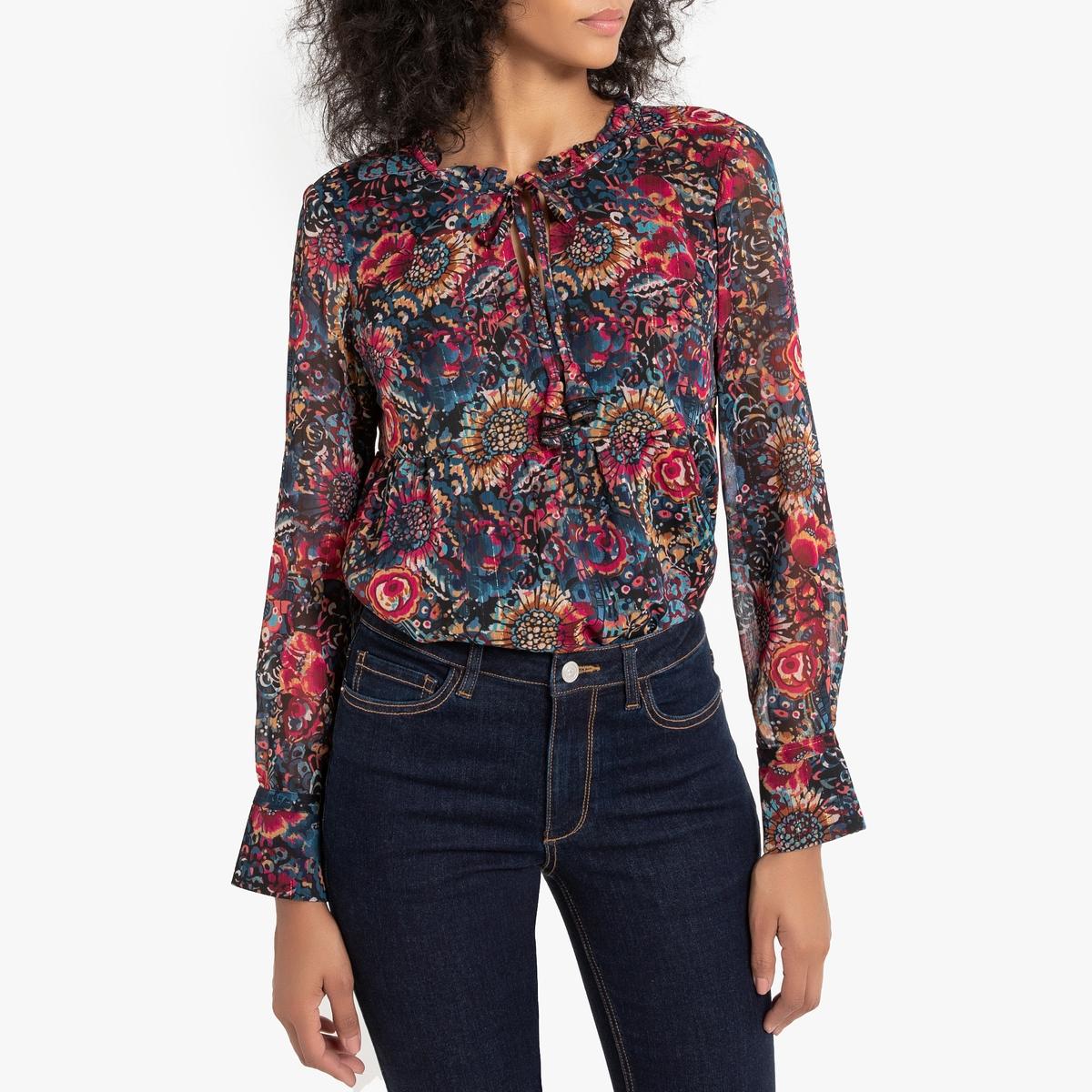 Блузка La Redoute С тунисским вырезом Teaky S разноцветный футболка с тунисским вырезом из 100% хлопка с эффектом фламме