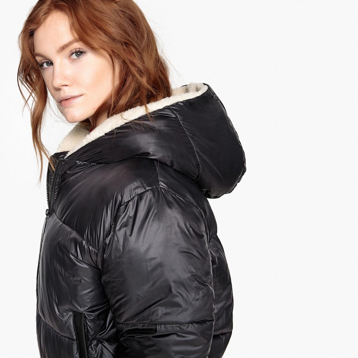 Куртка короткая с капюшоном из искусственного меха цена