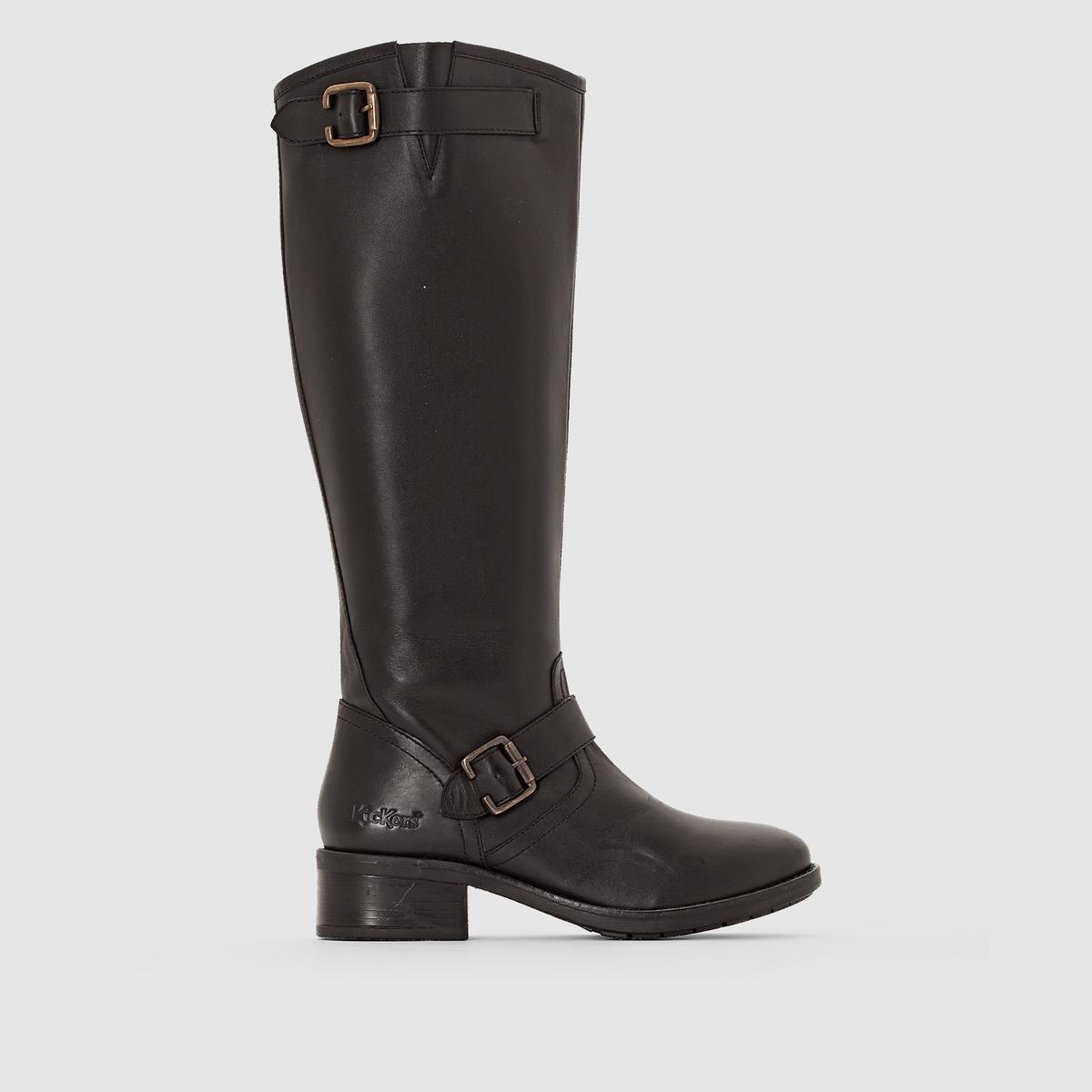 Сапоги кожаные PAULINПодкладка: Текстиль + спилок кожиСтелька: Спилок кожиПодошва: Каучук   Высота каблука: 38 см.   Высота каблука: 4 см.   Форма каблука: ШирокийНосок: Закругленный   Застежка: На молнии<br><br>Цвет: черный