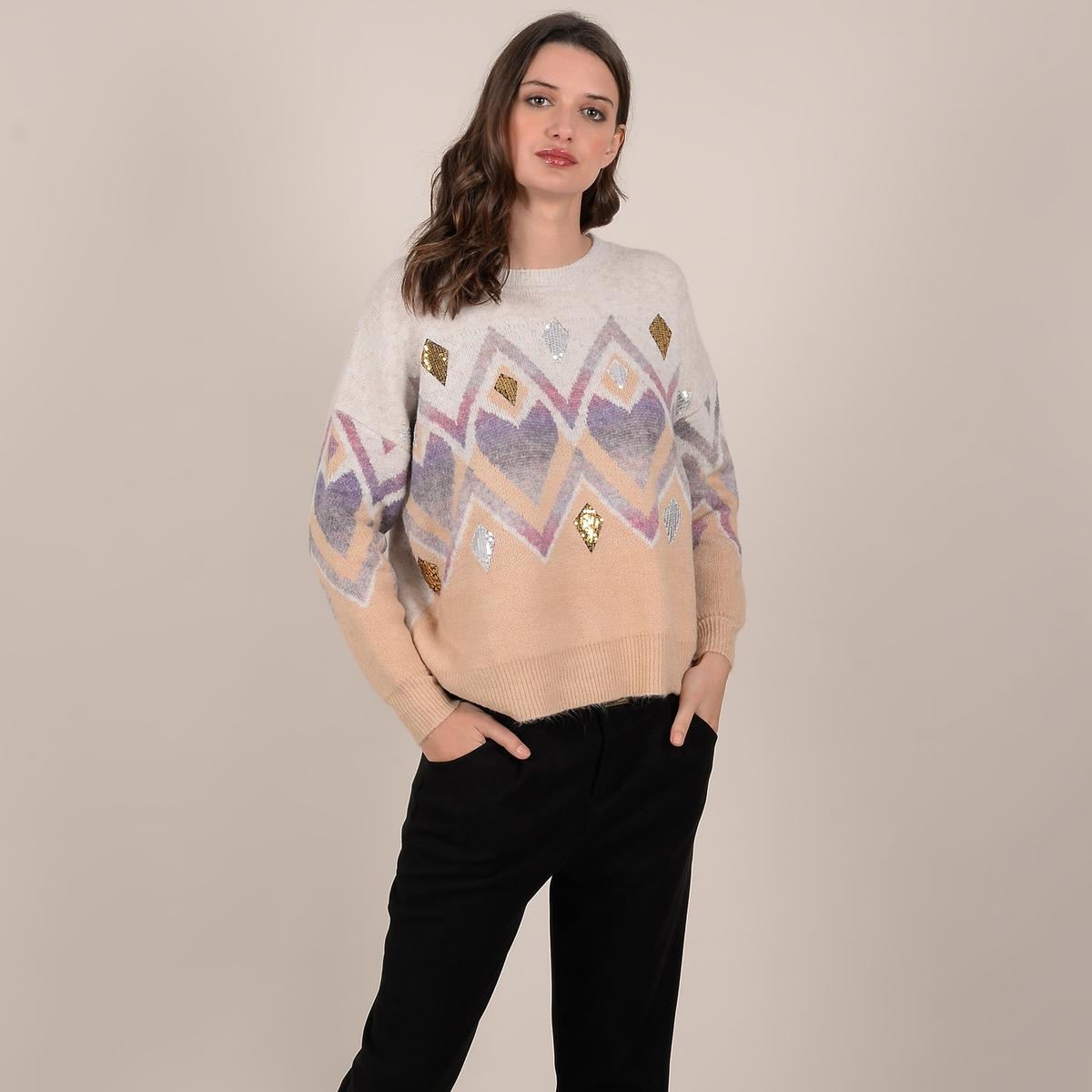 Пуловер La Redoute Жаккардовый с блестками XS/S бежевый lbellagiovanna redfushia белый бежевый xs