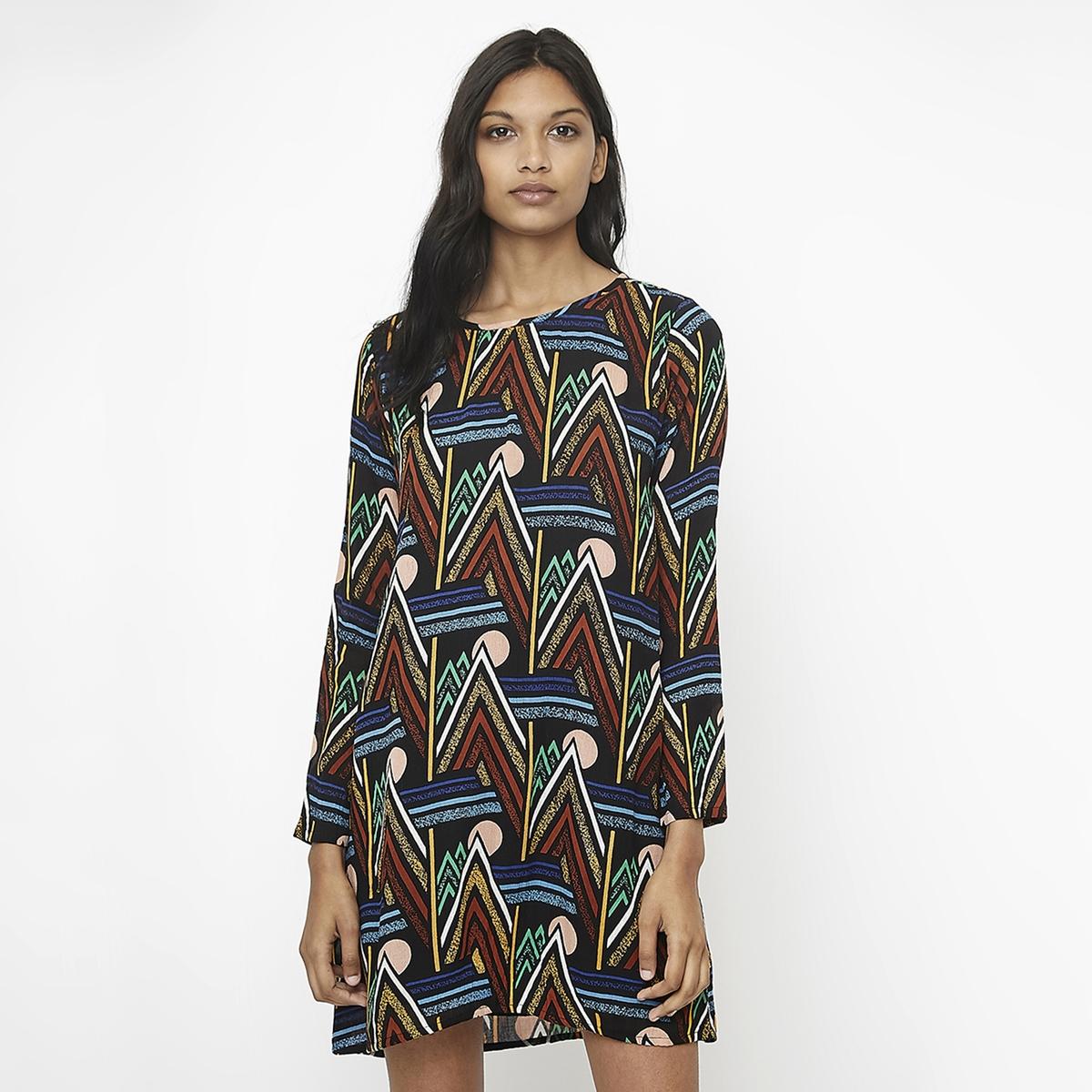 Платье La Redoute Прямое короткое с графическим рисунком из вискозы XS черный платье короткое с графическим рисунком без рукавов