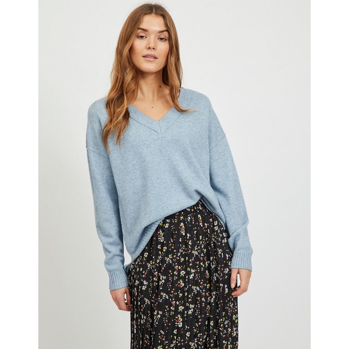 Фото - Пуловер LaRedoute Широкий v-образный вырез из тонкого трикотажа S синий пуловер laredoute крупной вязки s синий