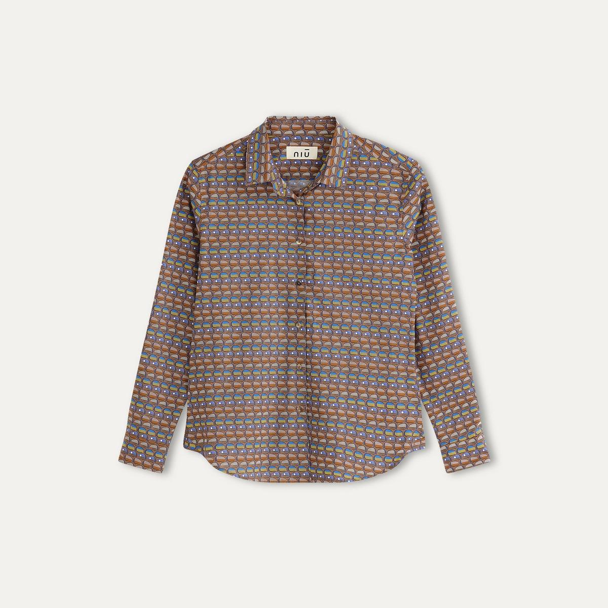 Рубашка с рисунком, женскаяСостав и описание Материал : 96% хлопка, 4% эластанаМарка : NIU<br><br>Цвет: горчичный,желтый,темно-бежевый