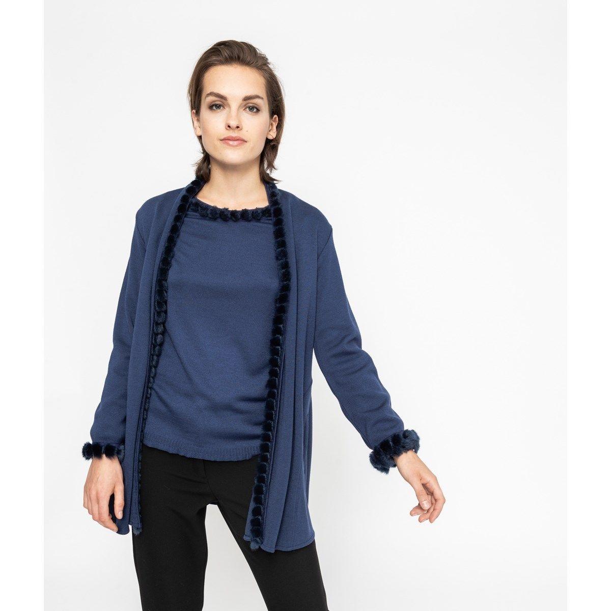 Veste évasée col châle maille bleue tricotée en France