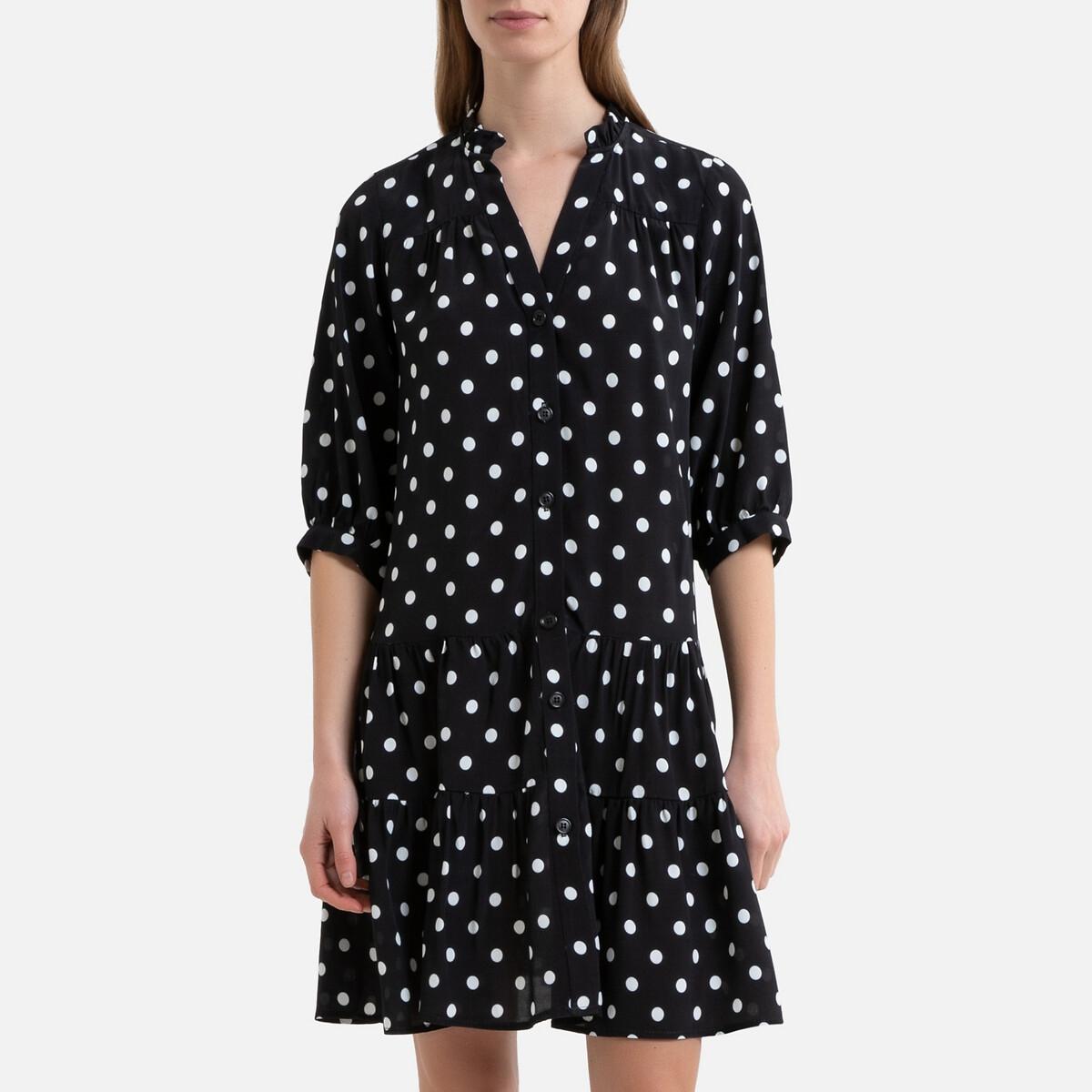 Платье LaRedoute Короткое расклешенное в горошек RITA 38 (FR) - 44 (RUS) черный платье la redoute короткое расклешенное в горошек с ажурными бретелями 42 fr 48 rus синий